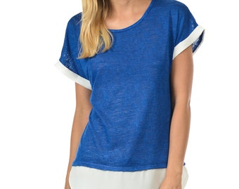 Knit Tee With Ivory Outlined - Available In Royal Blue, Black, Charcoal, Pink & White