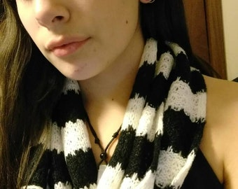 Black and white crochet infinity scarf .