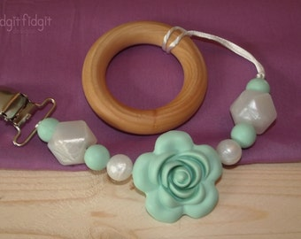 Mint Rose Pacifier/ Toy Clip