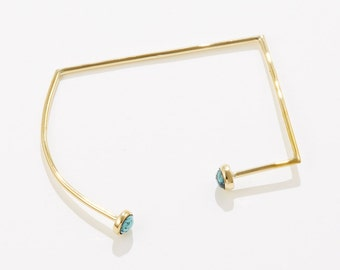 Reflector bracelet, brass and turquoise