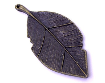 1 Bronze Leaf Charm | Leaf Pendant, Bronze Leaf Pendant, Big Leaf Charms, Huge Leaf Charms, Antique Bronze Leaf