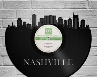 Nashville Skyline, Record Art, Father's Day Gift, Nashville Gift, Personalized City Skyline, Gift For Dad, For Mom, For Brother, For Sister
