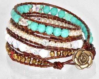 Summer Turquoise Bracelet, Chan Luu Wrap Bracelet, Beaded Wrap Bracelet