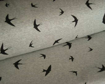 ALPENFLEECE light grey Heather with a bird motif