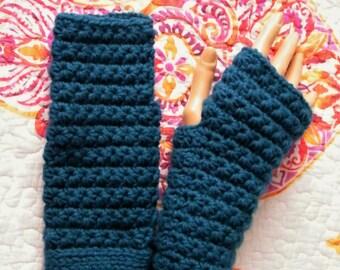 Teal Fingerless gloves