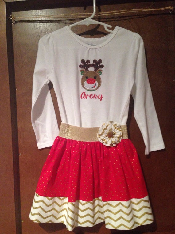 Holiday Outfit, Christmas Skirt Outfit, Rudolph Skirt Outfit, Baby Christmas Outfit, Girl Christmas Outfit, Toddler Christmas Outfit