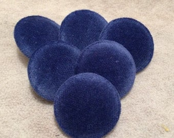 Blue Buttons, Velvet Buttons, Fabric Covered Buttons, Shank Buttons, 20mm, Medium Buttons, Coat Buttons, Sewing Supplies, Upholstery