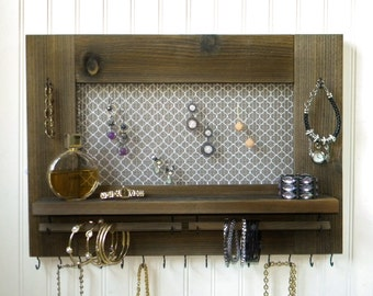 Rustic Jewelry Organizer Earring Bracelet Necklace Holder