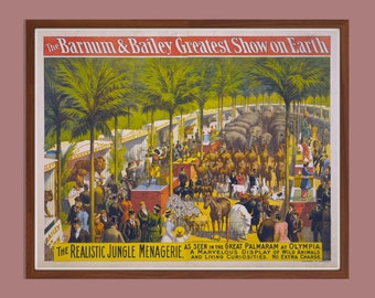 """Instant Downloadable Vintage Circus Poster """"The Barnum & Bailey Greatest Show on Earth"""" from 1897"""