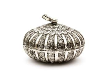 Round Silver Plate Ornate Vanity or Trinket Box