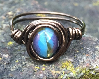 Handmade Turquoise Wire Wrapped Bronze Ring Size 7