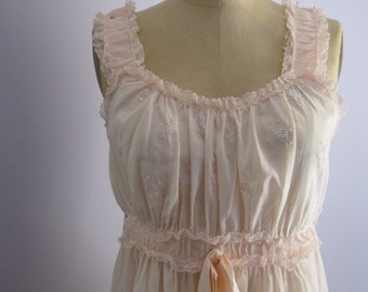 Pink Satin and Lace Nightgown / Vintage Cotton Nightgown / Empire Waist Ruched and Embroidered