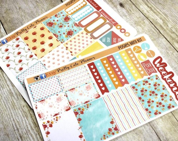 Happy Planner Stickers - Weekly Planner Sticker Set - Erin Condren Life Planner - Day Designer- Functional stickers Pretty Posies