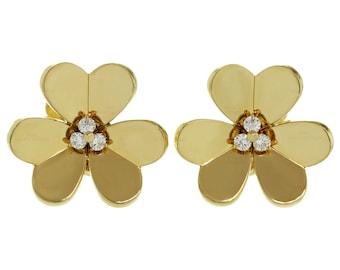 1990s Van Cleef & Arpels Frivole Diamond Gold Earrings