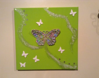 Handcrafted butterfly wall art