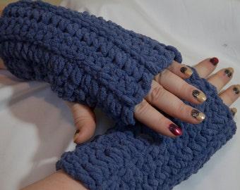 Fingerless Gloves-Soft crocheted & warm