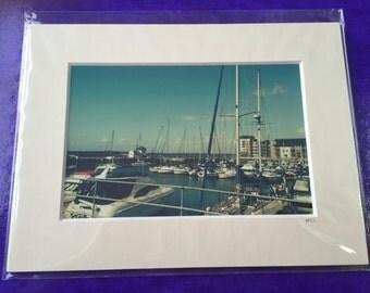 Beautifully Blue Caernarfon New Marina Sea/Boat Landscape in a Mounted Frame