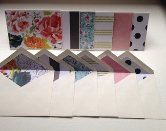 Set of 6 Folded Blank Note Cards Matching Envelopes Stationary Set