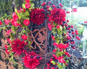 Wedding Wreath,  Red Floral Wreath Wreath, Front Door Wreath, Wedding Wreath, Mother's Day Wreath HouseWarming Wreath