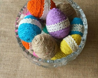 Twine Wrapped Easter Eggs, Easter Egg Bowl Filler, Easter Decor, Twine and Lace, Rustic Easter Decor, Easter Eggs, Rustic Bowl Filler, Lace