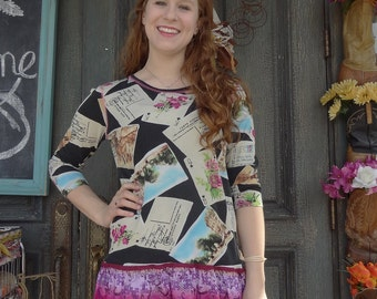 Upcycled Postcard Print Blouse,Eco-Fashion,Recycled Shirt