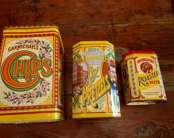 3 Vintage Yellow Tin Cans / Vintage Kitchen Decor / Decorative Tin Cans