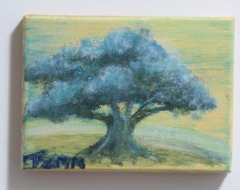 blue Tree on a hill acrylic painting on Canvas.