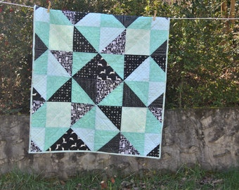 Mint and Black Baby Quilt