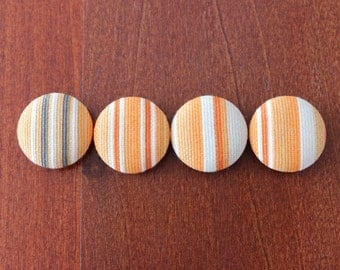Handmade fabric buttons, Covered buttons, Retro autumn stripes buttons, Orange Grey, 1.1 inches, 28mm, 4's