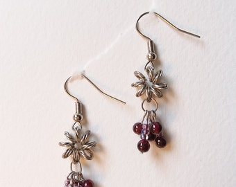 Garnet Beads, Flower Shape Dangle Earrings