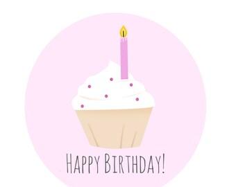 Happy Birthday Cupcake Card