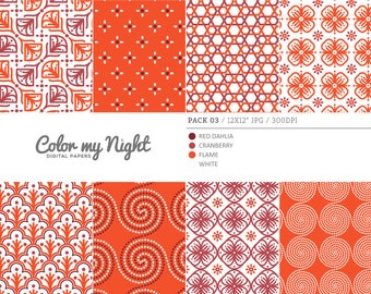 Digital Paper Red 'Pack03' Scrapbook Paper Pack Digital Backgrounds for Scrapbooking, Invites, Crafts...