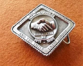 Ranchester Wyoming - 1986 - Limited Ed. Mens Siskiyou Metal Diamond Jubilee Souvenir Belt Buckle