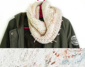 Abstract White Cream Cowl Scarf - pink, purple, green, peach