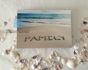 Inspirational Word, Beach Sand, Family, Wood Block Format, Wood, Motivation, Australia, Beach