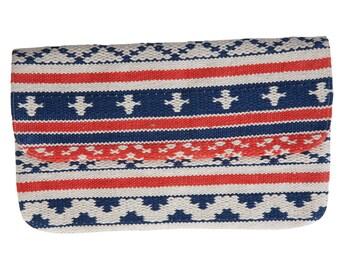 Maritime clutch with weaving pattern, Handtasche im Ethno look, Boho-Bag, Strand-Look
