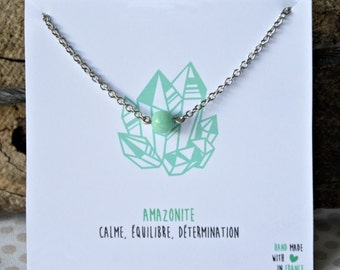 Stainless steel necklace Amazonite