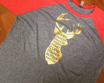 Deer head raglan - Christmas tee - plus size christmas shirt - merry christmas shirt - christmas gift - deer head silhouette