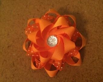 Orange Polk a Dot Loopy Barrette