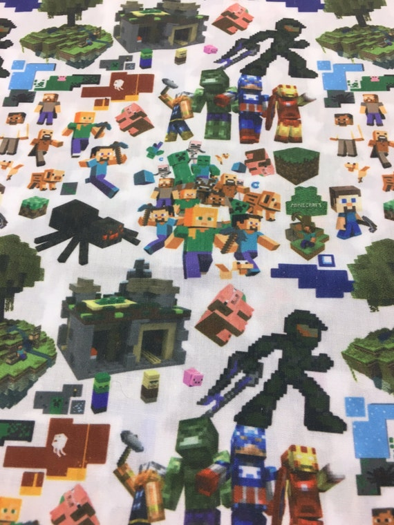 Minecraft inspired fabric 16 x 21 remnant for Minecraft fabric by the yard
