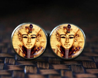 Egyptian pharaoh cufflinks, pharaoh cuff links, ancient Egypt cufflinks, Egypt cufflinks, Egyptian gift, pharaoh art gift