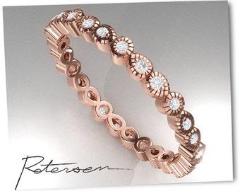Rose Gold Wedding Band - Rose Gold Band - Art Deco Ring - Stacking Ring - Eternity Ring - Wedding Ring Promise Ring Vintage Dot Ring