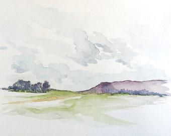"""Original Watercolor Landscape Painting - 9"""" x 12"""""""