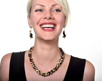 Earrings black Synergy long chic polymer black and gold and silver