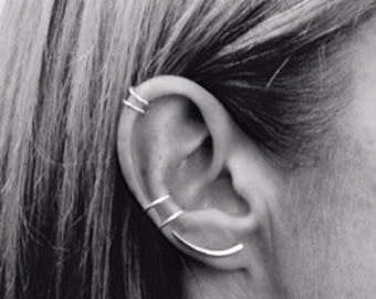 Individual Slice ear climber, earring, sterling silver, Minimal, Contemporary, Modern,