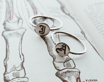 Personalized Blackletter Initial Signet Ring - Sterling Silver Stack Rings