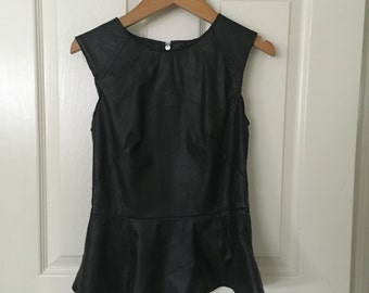 Black faux leather peplum top size small