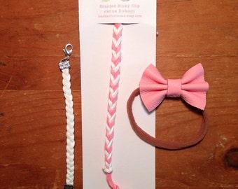 Baby girl gift set, braided binky clip, braded leather bracelet, leatger bow headband