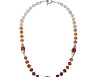 """Dazzling Carnelian Gemstone Beads 20"""" Necklace for Women RCJN-1083-CAR"""
