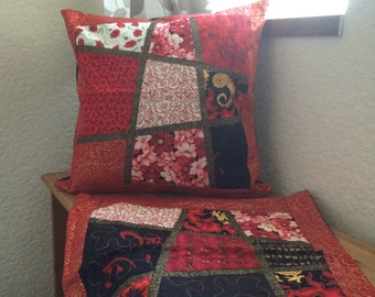 Hand Made - 2 x Patchwork Cushion Cover - Red and Black Cotton Fabrics used